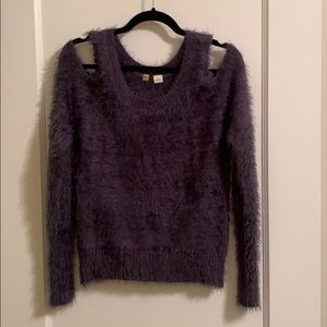 Fuzzy cold shoulder sweater